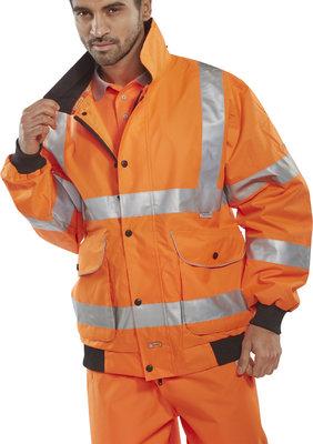 Premium Hi-Vis Orange Bomber Jacket