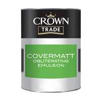CROWN COVERMATT EMULSION PAINT BRILLIANT WHITE 5 LTR