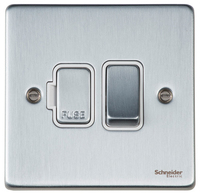 Schneider Ultimate Low Profile Fused Spur with Switch Brushed Chrome with White Insert | LV0701.0012