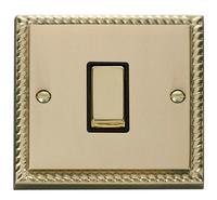 Click Deco Georgian Cast Brass with Black Insert 1 Gang Intermediate Switch | LV0101.0034