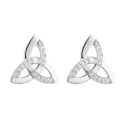14K WHITE GOLD DIA TRINITY KNOT STUD EARRINGS