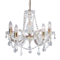 Marie Therese Polished Brass 5 Light Chandeliers