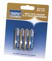 Draper AAA Heavy Duty Alkaline Battery Pack of 4