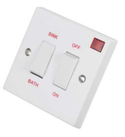 DUAL CONTROL BATH/SINK WATER HEATER SWITCH WITH NEON 20A