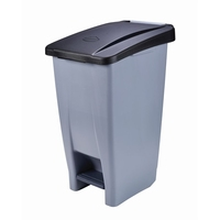 Waste Container 120Litre Grey with Black Lid Foot Pedal Operated  Wheels for Easy Manoeuvrability. Supplied with Waste Identification Stickers High Density Polyethylene 510x425x875mm