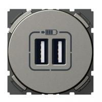 Arteor 2 USB Charger Socket Round - Magnesium  | LV0501.0890
