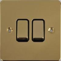 Flat Plate Polished Brass 16AX 2G 2 Way Switch BLACK | LV0701.0135