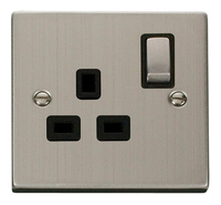 Click Deco Victorian Stainless Steel with Black Insert Single switched Socket | LV0101.0083