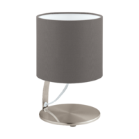 EGLO Nambia 1 Satin Nickel with Cappuccino Shade Round Table Lamp | LV1902.0080