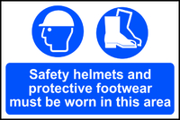 Safety Helmet & Protective Footwear Sign 600x400mm
