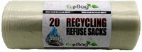 ECOBAG 20 CLEAR RECYCLING REFUSE SACKS 100LTR