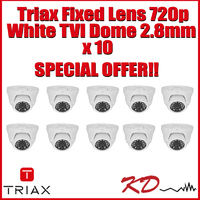 Triax Fixed  720p TVI Dome 2.8m White X 10