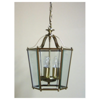 3 Light Panel Lantern Antique Brass