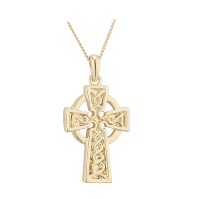 GOLD PLATED  ENGRAVED CELTIC CROSS PENDANT