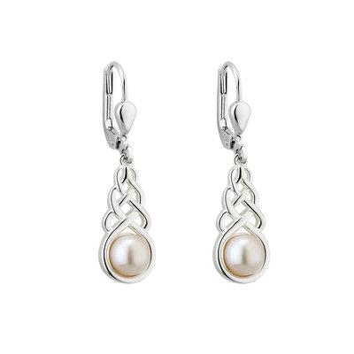 sterling silver fresh water pearl celtic drop earrings s33918 from Solvar