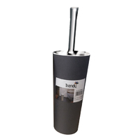 Black Round Closed Toilet Brush and Chrome Handle