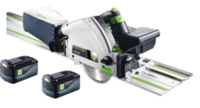 Festool 201397 TSC 55 Cordless Plunge Saw C/W 2 x 5.2Ah Li-ion Airtsream Batteries & SCA8 Rapid Charger Was 201401