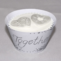 2290 CUPCAK WRP-TOGETHER-WHT/SIL12Pk