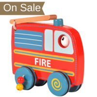 Wooden  fire engine push and roll toy