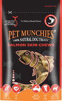 Pet Munchies Dog Treats Medium Salmon Skin Chews 90g x 8