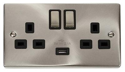 Click Litehouse Twin Socket + USB Ingot Black Insert