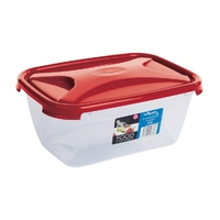 Cuisine 2.0Ltr Rectangular Food Box Chili Red Lid