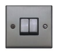 FEP Low Profile Satin Chrome 2g 2w Sw Black Insert Chrome Switch | LV0801.0002