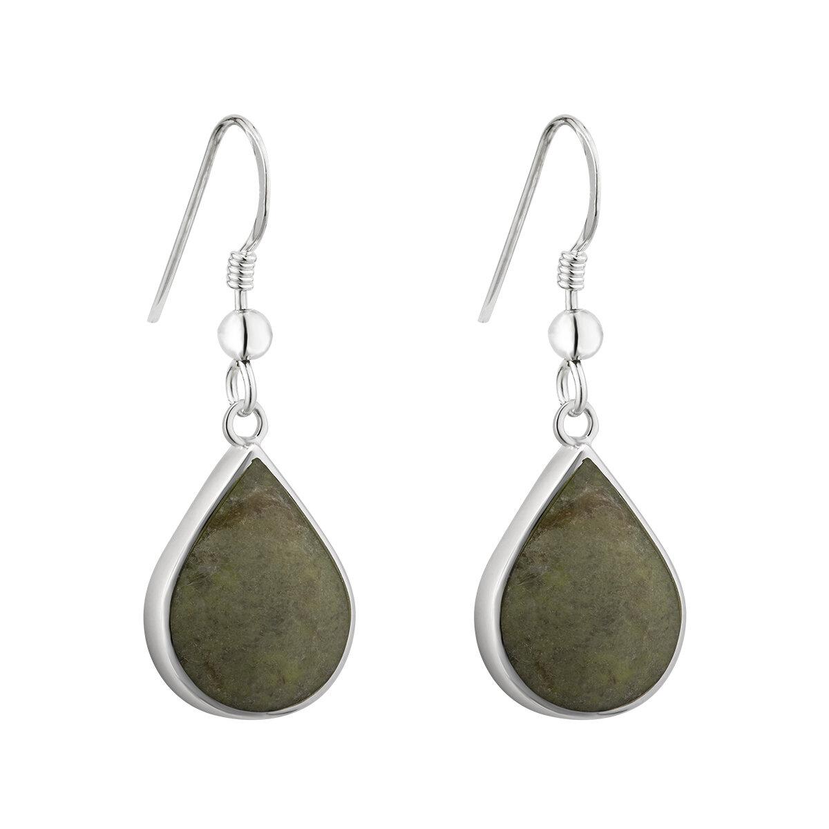 sterling silver tear drop marble drop earrings s34018 from Solvar