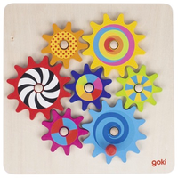 Colourful wooden cog wheel game