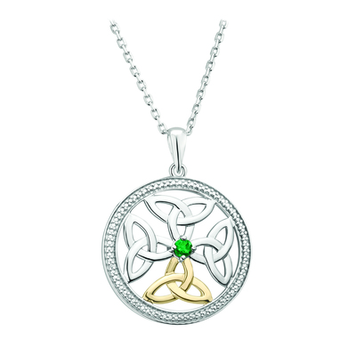 SILVER 10K GOLD EMERALD CELTIC KNOT PENDANT