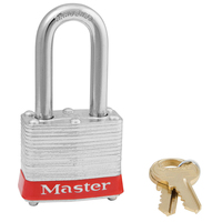 Master Lock Red laminated steel safety padlock, 40mm wide with 38mm tall shackle, keyed alike
