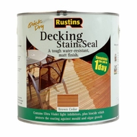 RUSTINS QUICK DRYING DECKING STAIN AND SEAL BROWN CEDAR 2.5LTR