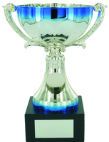 19cm Silver & Blue Metal Cup with Centre   TC