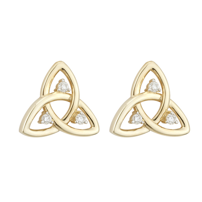 9K CZ TRINITY STUD EARRINGS(BOXED)
