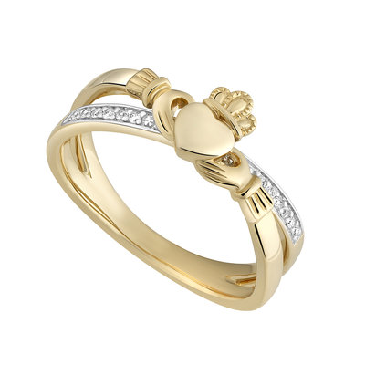 14K DIAMOND CLADDAGH CROSSOVER RING (BOXED)
