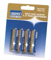 Draper AA Heavy Duty Alkaline Battery Pack of 4