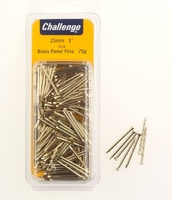 Challenge Brass Panel Pins 25mm Clam Pk 75g
