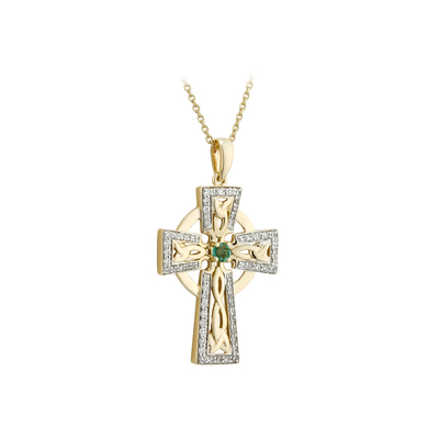 14K DIAMOND & EM SMALL CROSS PENDANT