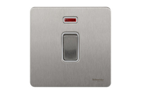Schneider Ultimate Screwless 1 Gang Double Pole Switch + Neon Stainless Steel white LV0701.0938