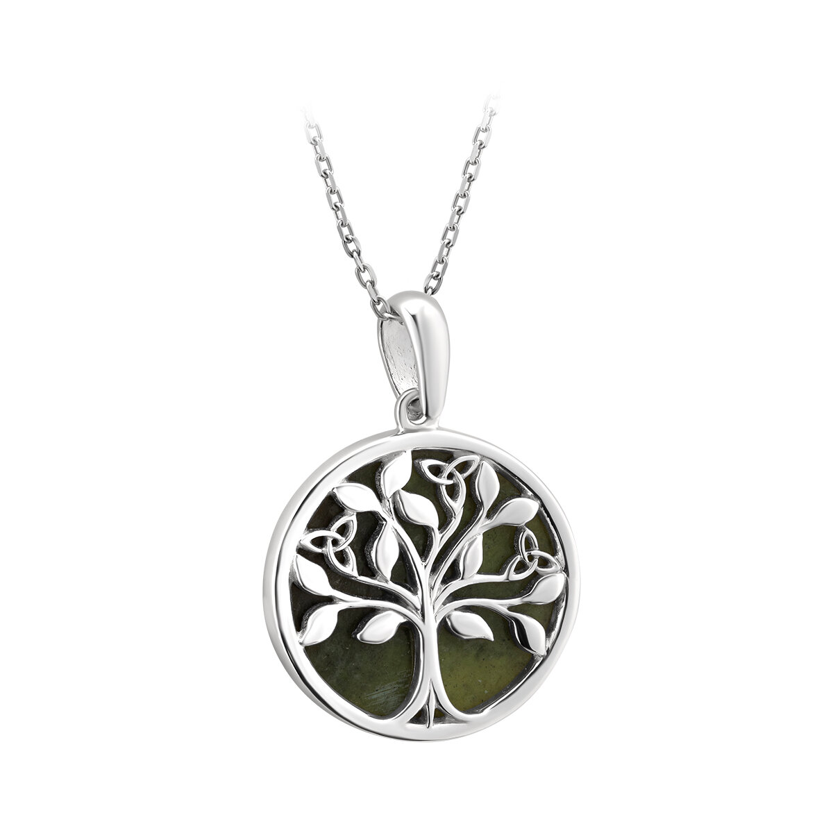 sterling silver connemara marble tree of life pendant s46669 from Solvar