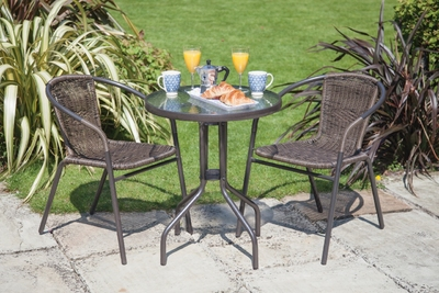 Bistro Set Rattan 2 Chairs (Stackable) & Table