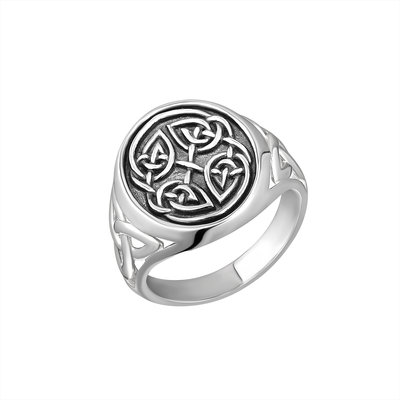 SILVER GENTS OXIDISED CELTIC KNOT SIGNET RING (BOXED)