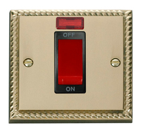 Click Deco Georgian Cast Brass with Black Insert Small Cooker switch   LV0101.0044