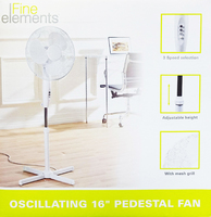 "FINE ELEMENTS 16"" OSCILLATING FAN ON STAND"