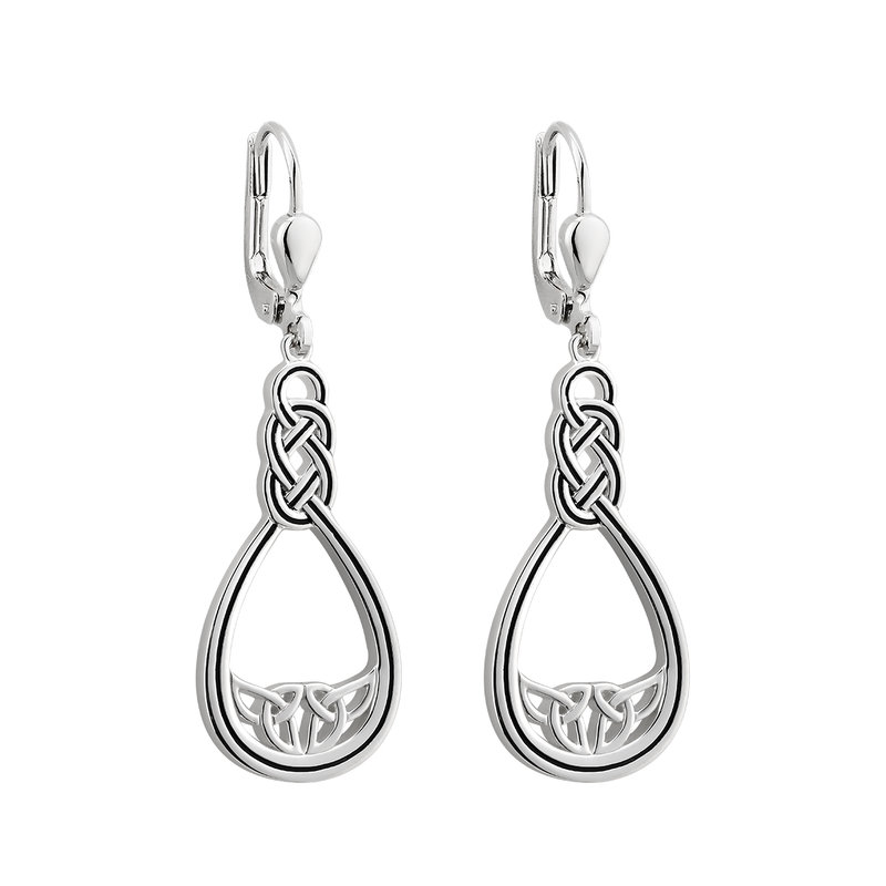 New Silver Celtic Twisted Trinity Knot Design Drop Earrings Celtic Jewellery