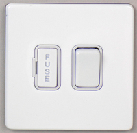 DETA Screwless Fused Spur Switch White Metal White Insert | LV0201.0033