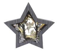 LED STAR FAIRY DIORAMA GREY CHRISTMAS DECORATION COMES WITH BATTERIES 006X040016