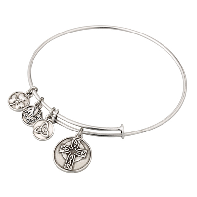 SILVER TONE CELTIC CROSS BANGLE