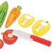 close up image of wooden toy vegetable set