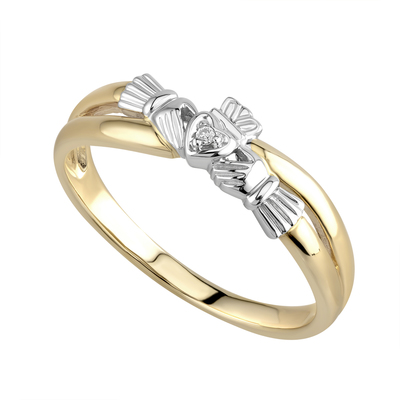 14K DIAMOND CLADDAGH CROSSOVER